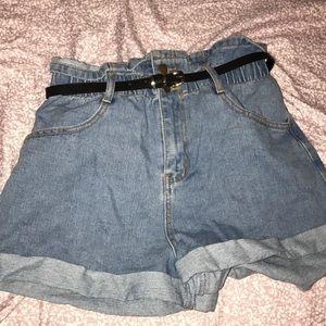 Forever 21 belted paper bag jean shorts
